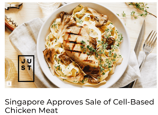 cell based chicken meat in singapore